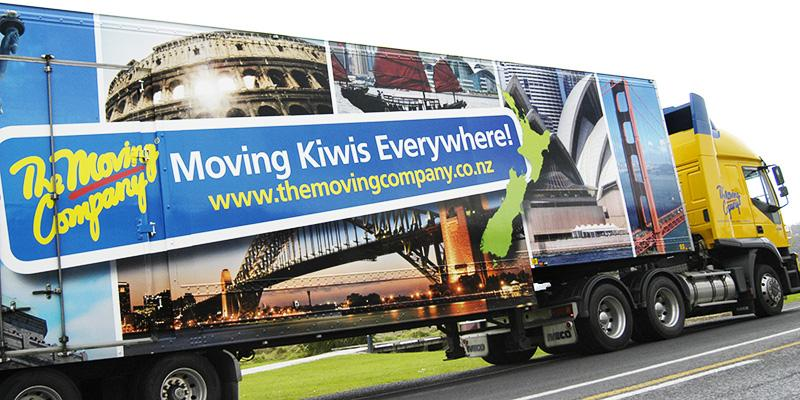 Moving Kiwis Everywhere truck wrap